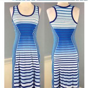Calvin Klein blue striped maxi slim dress